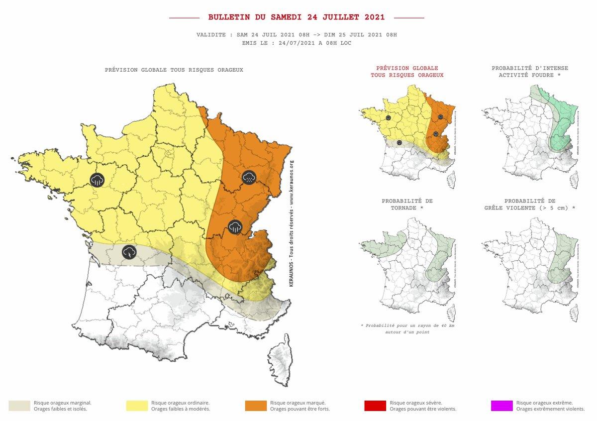 Les #orages tendent à se décaler vers l'est de la France aujourd'hui où ils pourront être forts. Un régime de traine se déploie sur le nord-ouest au cœur d'une goutte froide. #keraunos