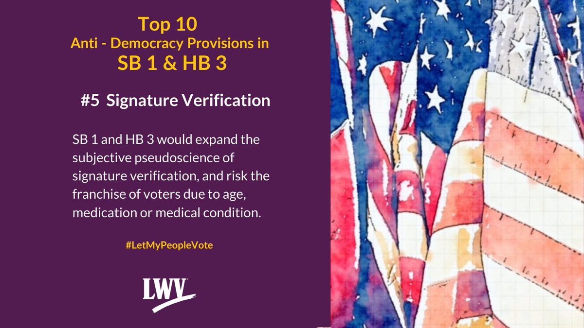 Our democracy and Texans' freedom to vote are restricted by provisions in Sb 1 and HB 3. #LetMyPeopleVote #lwv #democracy #txlege  @TexasNAACP @TXImpact @TXLULAC   https://t.co/XLF5sskoSh https://t.co/nZ55hTdIW7