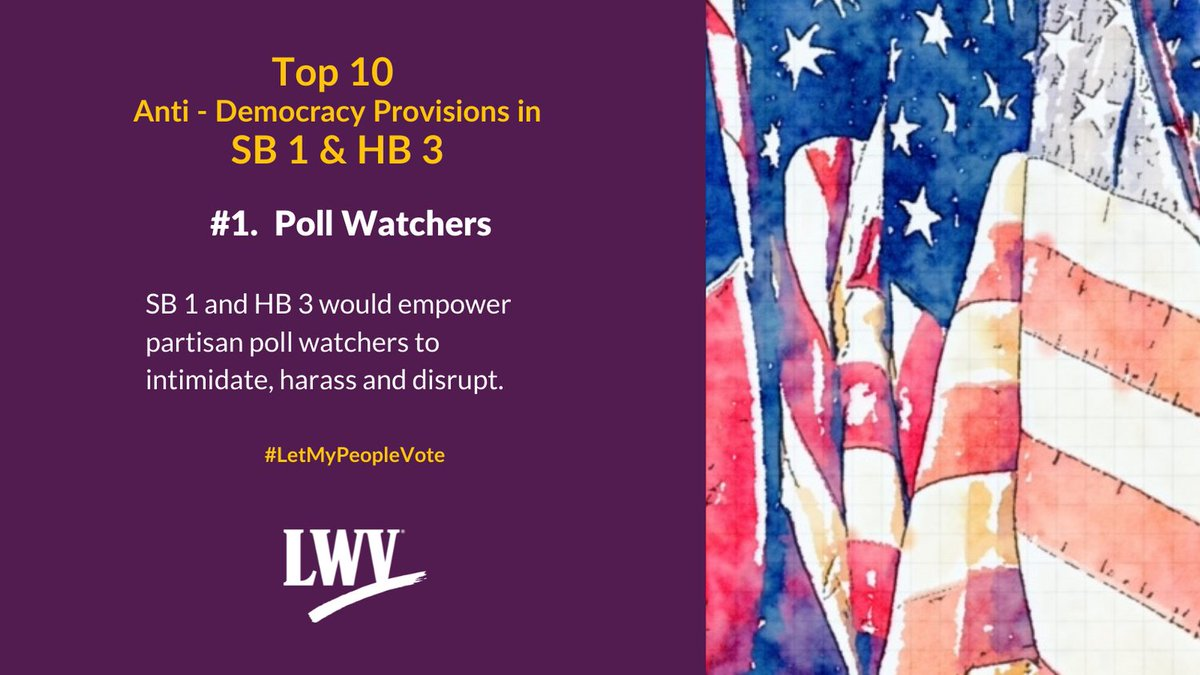 Our democracy and Texans' freedom to vote are restricted by provisions in Sb 1 and HB 3. #LetMyPeopleVote #lwv #democracy #txlege @TexasNAACP @TXImpact @TXLULAC  https://t.co/P8OMCoevu3 https://t.co/lCNkaQtPvQ