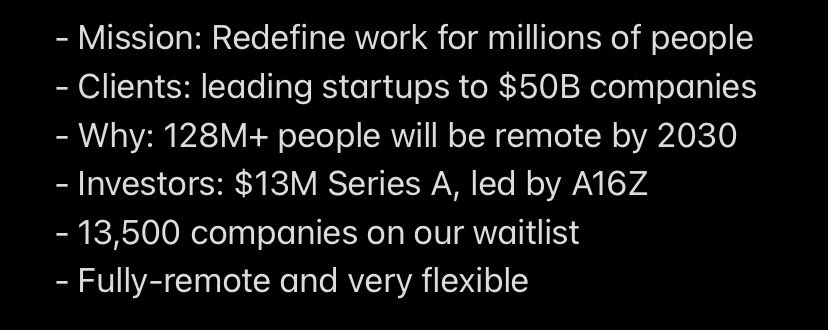Hey people people friends. This looks like a tremendous opportunity to get in early with a smart business supporting remote. 👇🏼👇🏼👇🏼