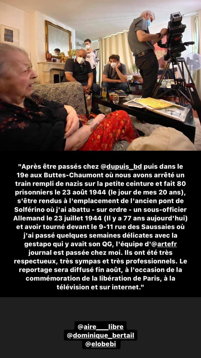 Merci à l'équipe d' @ARTEfr journal. Ils ont été très respectueux, très sympas et très professionnels. Le reportage sera diffusé fin août, à l'occasion de la commémoration de la libération de Paris, à la télévision et sur internet. https://t.co/M5VVMUOMJr