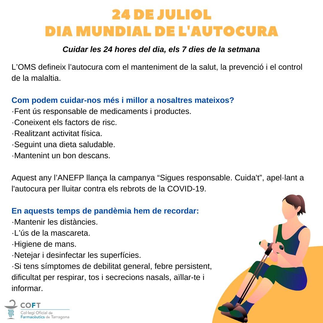 test Twitter Media - 📣 Avui 24 de juliol és el Dia Mundial de l'Autocura  Com podem cuidar-nos més i millor a nosaltres mateixos❓  ➡️ Ús responsable de medicaments 💊 ➡️ Conèixer els factors de risc 🔴 ➡️ Fer exercici 🏃♀️ ➡️ Seguir dieta saludable 🥗 ➡️ Fer un bon descans 💤  #DiaMundialAutocura https://t.co/oXyiS9YysM