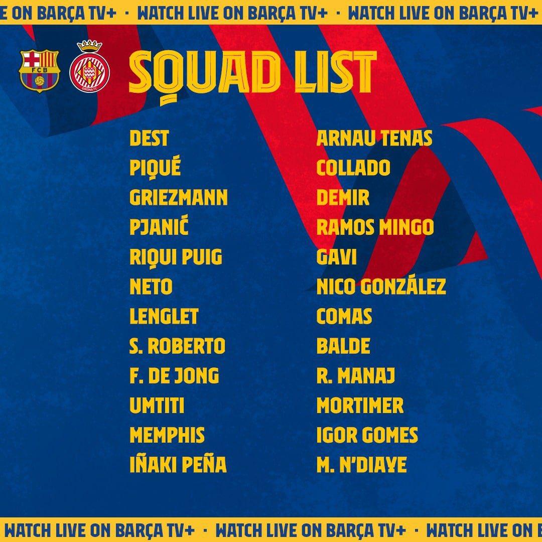 Depay debutará hoy con el Barcelona ante el Girona. Entre los convocados ya están Griezmann y De Jong . Entra Nico González el joven mediocampista https://t.co/U1BPWTA6ei