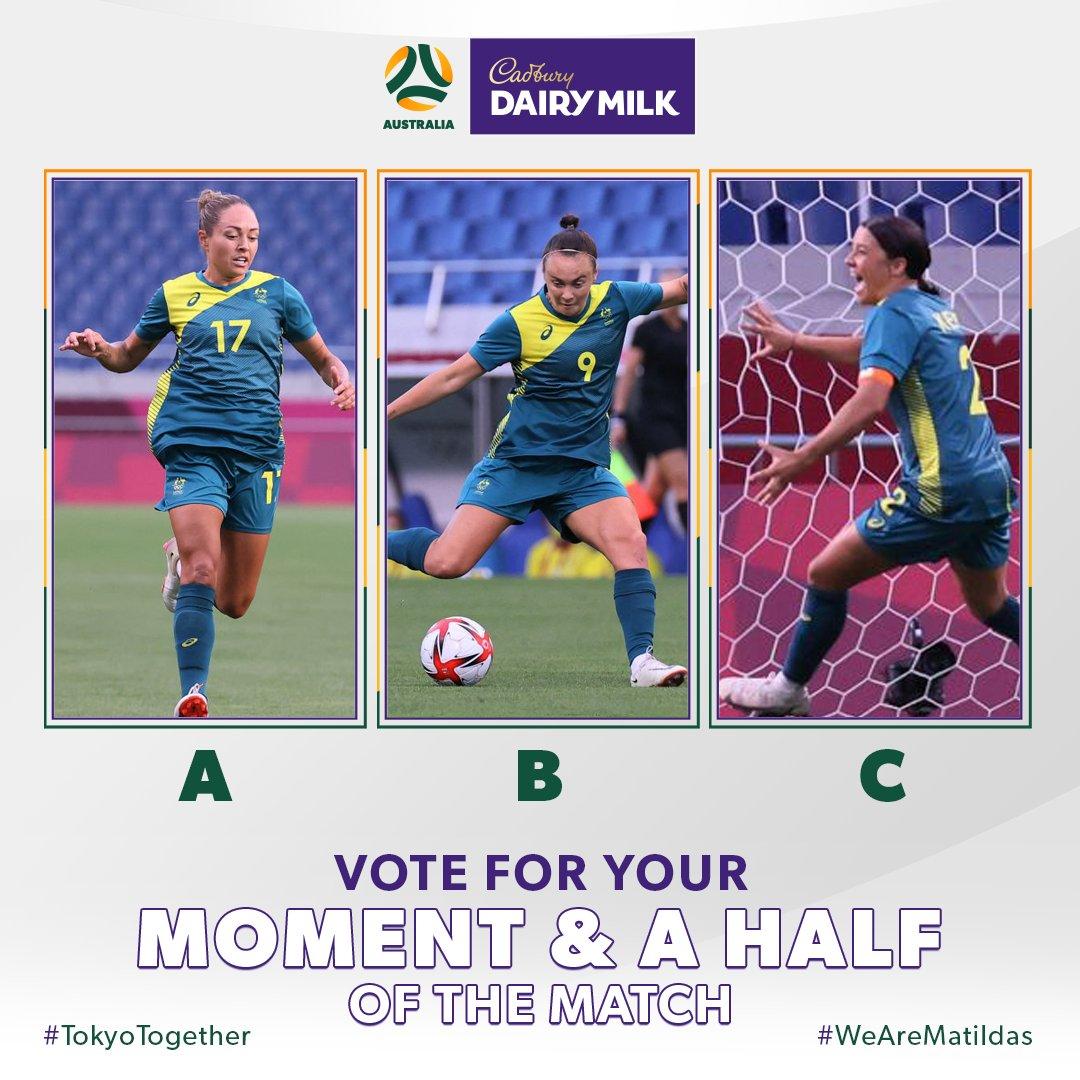 Vote for your @CadburyAU Moment & a Half of the Match!  Was it:  𝗔 - @KyahSimon's assist 𝗕 - @CaitlinFoord's assist 𝗖 - @samkerr1's double   #CadburyDairyMilk #MomentAndAHalf https://t.co/M338MSyRgp