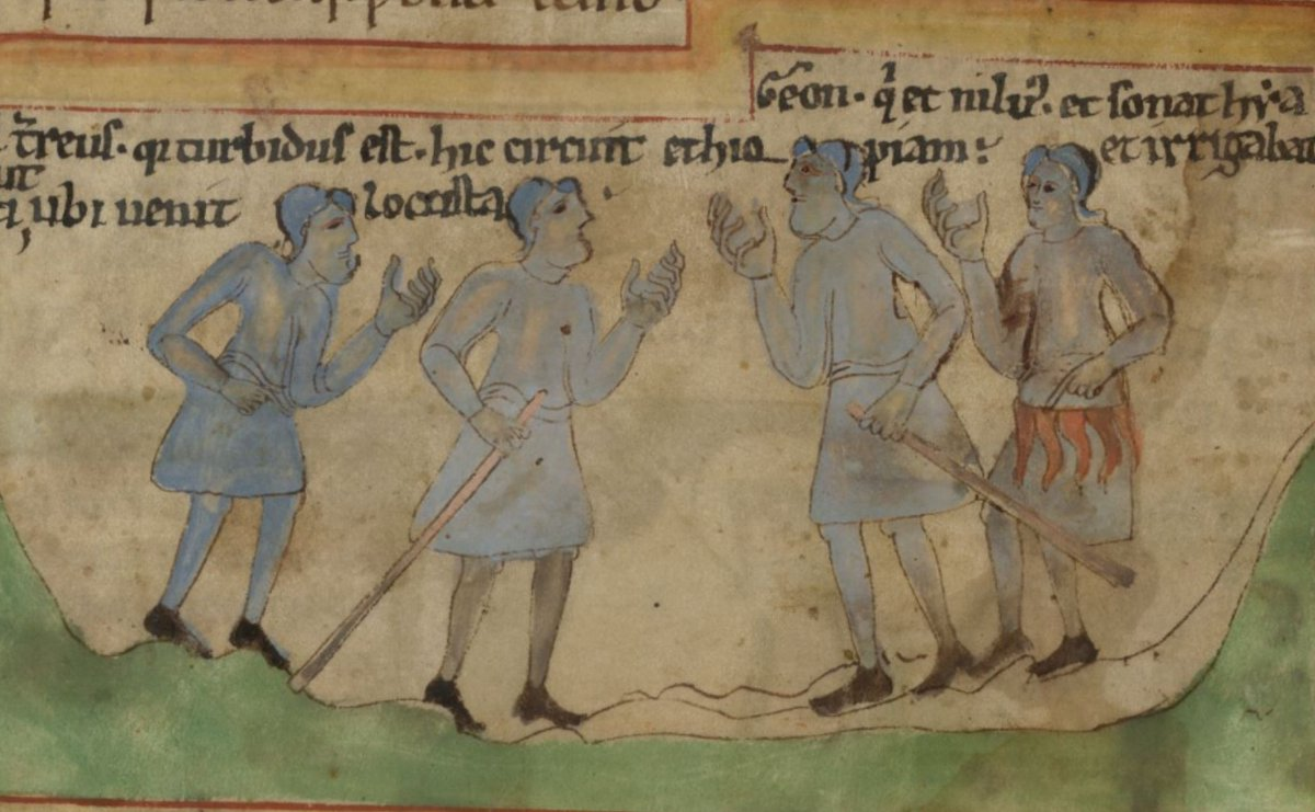 🧵: Here are four Ethiopians from a late-tenth century Old English manuscript, depicted as blue men in accordance with a tradition of black-skinned people being described as blue.   Here are some thoughts on them.  (BL, Cotton MS Claudius B IV, f. 5v) #MedievalTwitter https://t.co/qgXsdf2CKa