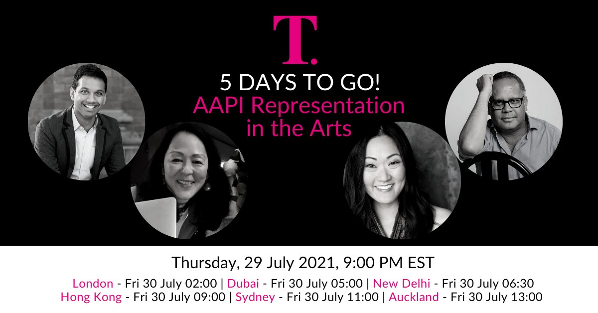 5 days to go before our webinar panel discussion with AAPI Arts Leaders Snehal Desai, Leslie Ishii, Jully Lee and Jon Rivera. Register here for FREE: https://t.co/jXiOEUQxrt #aapi #asianamerican #representationmatters https://t.co/NRBgktSYRm