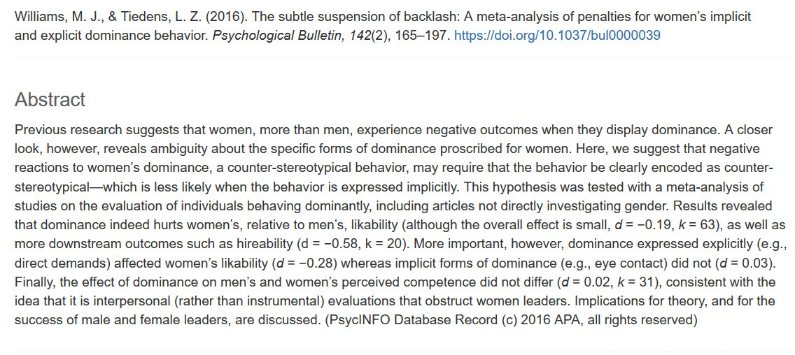 63 studies: women who assert their ideas, make direct requests, and advocate for themselves are liked less. They're also less likely to get hired—and it hasn't improved over time. It's 2021. When will we stop punishing dominant women for violating outdated gender stereotypes?