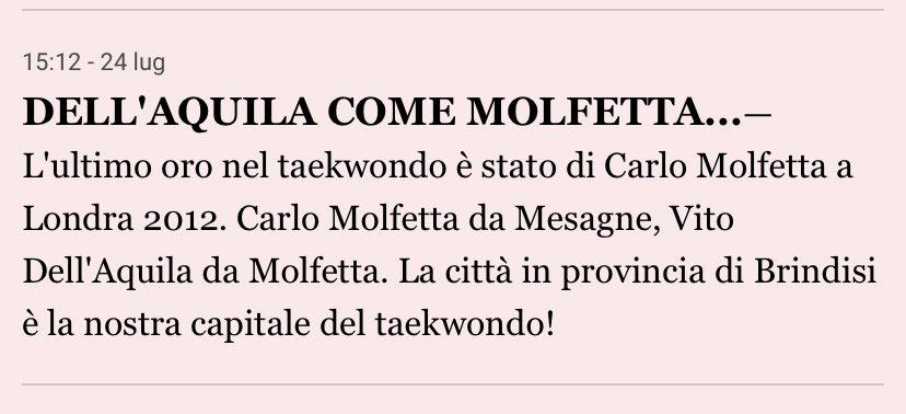 Carlo Molfetta da Mesagne, Vito dell'Aquila da Molfetta, Nicola Caserta da l'Aquila, Stefano Milano da Caserta, Giacomo Palermo da Milano...