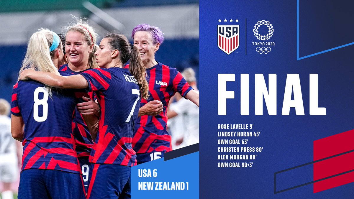 FINAL   Three points baby! Took care of business ✔️  🇺🇸 6-1 🇳🇿   #Tokyo2020 https://t.co/qaaRZyyi0R