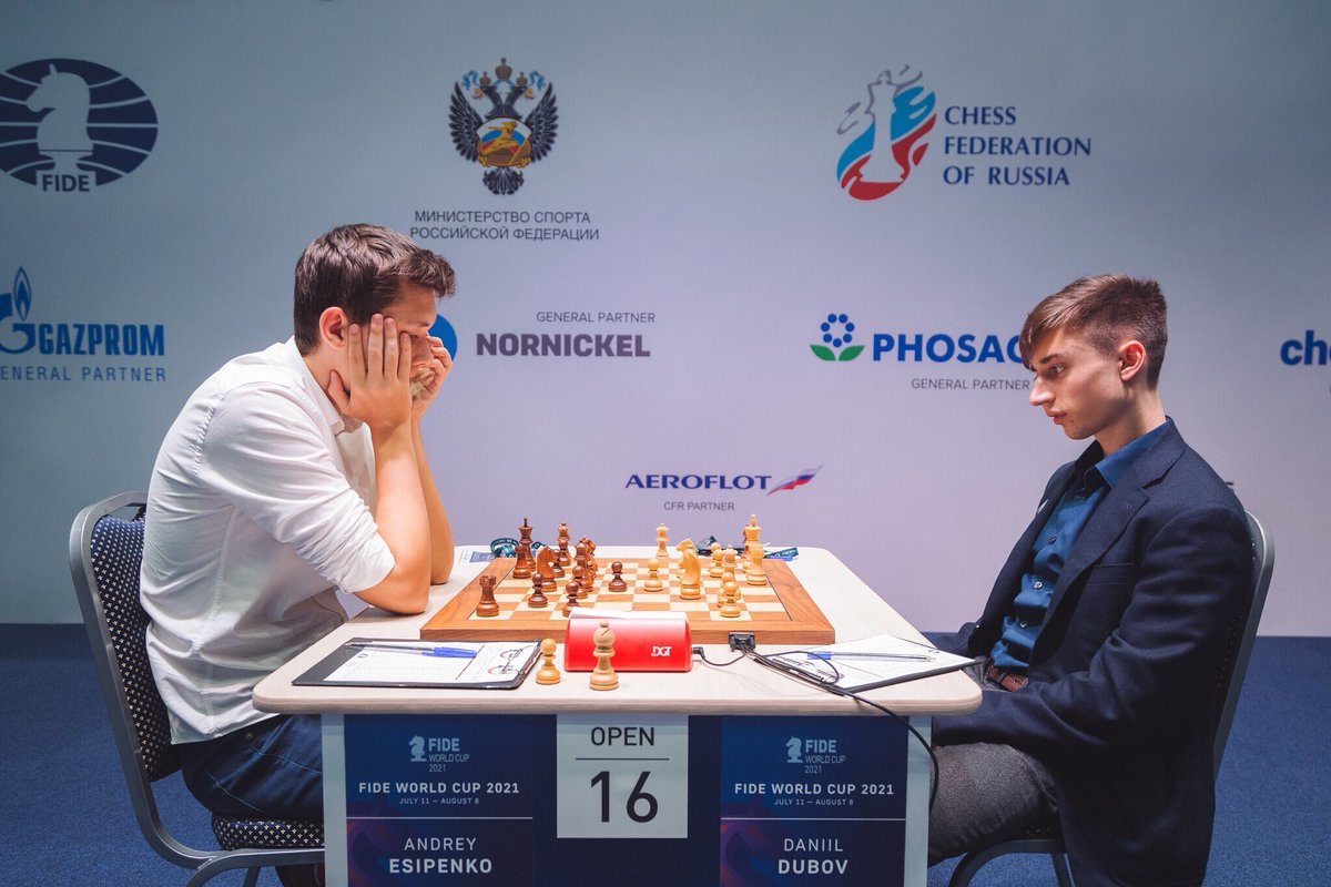 test Twitter Media - 🇵🇱Wojtaszek - 🇳🇴Carlsen, 🇷🇺Dubov - 🇷🇺Esipenko and 🇷🇺Ponkratov - 🇫🇷Bacrot ended in draws in the first Rapid tiebreak of the day! #FIDEWorldCup https://t.co/eqQfp0Q0by