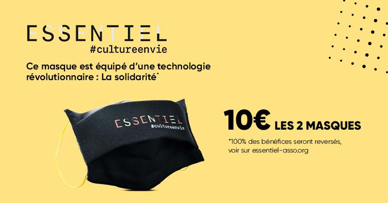 🟡 10€ les 2 masques de protection @essentiel_asso, c'est à la Fnac. 👉 https://t.co/gr52uavtFi  #cultureenvie https://t.co/BCjsVpZ6Y0