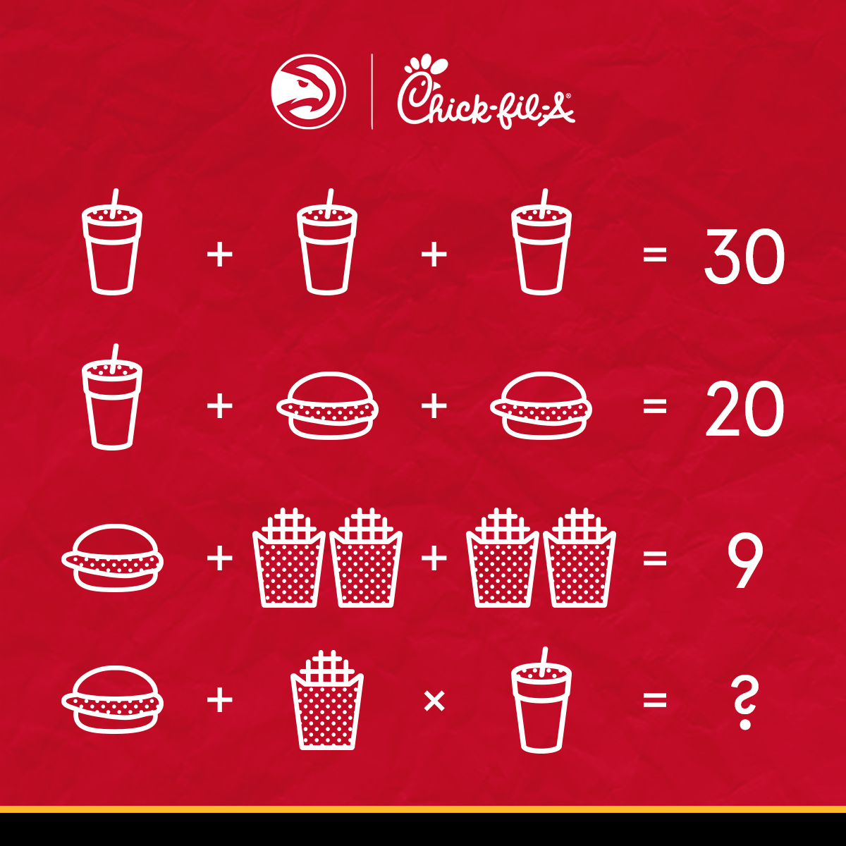 15   The multiplication almost got me.  RT @ATLHawks: Can you solve this brain teaser? Let us know in the comments!!  Hint: The number has been seen on the court of State Farm Arena 🤔  #TrueToAtlanta   @ChickfilA https://t.co/aiYUOmeRdv