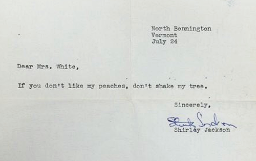 On this day in 1953, novelist Shirley Jackson replied to a disappointed reader. https://t.co/sP8TbL1YaG