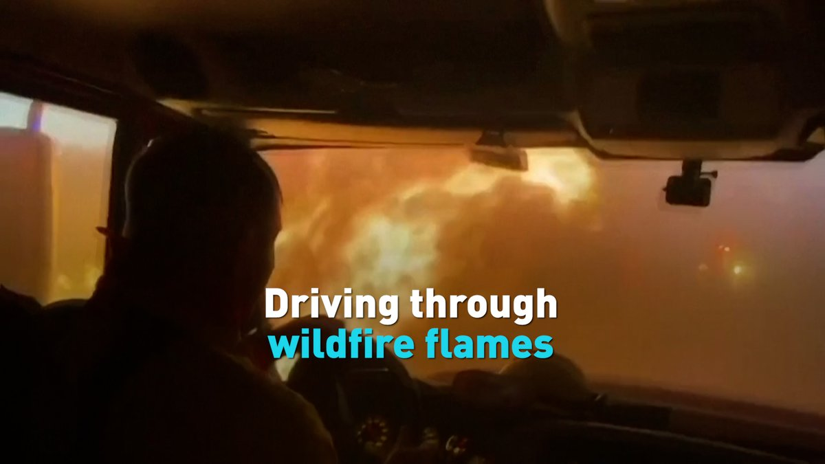 Firefighters in Douglas County, Nevada filmed themselves driving through the raging flames of the Tamarack wildfire, which has spread over 58,000 acres and forced thousands to evacuate. #cgtnamerica