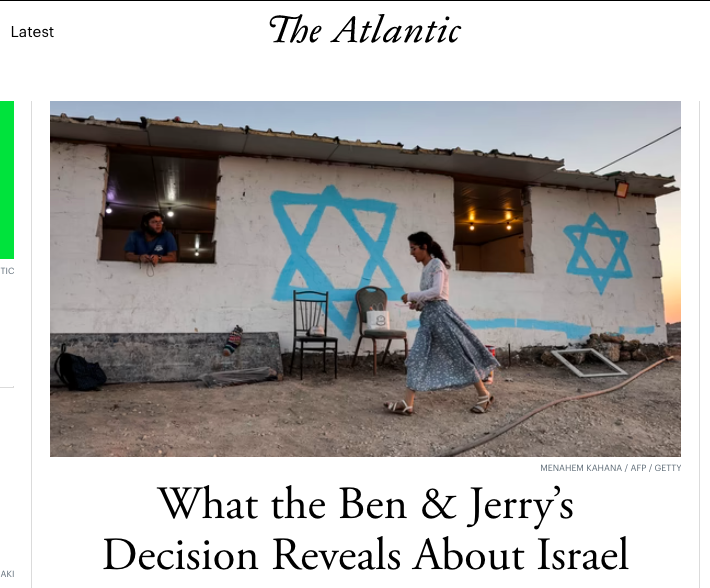 The fact that the Ben and Jerry story is at the top of  @TheAtlantic's homepage but the killing of a Palestinian teenager living under occupation is not says a lot about how mainstream American media covers this conflict https://t.co/KwbuwYd0zV