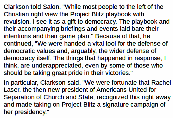 """""""While most people to the left of the Christian right view the Project Blitz playbook with revulsion, I see it as a gift to democracy,"""" @FredClarkson told @Salon.  """"We were handed a vital tool for the defense of democratic values"""": 4/9 https://t.co/VPkeivdTth"""