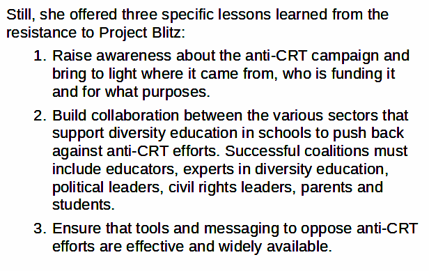 """.@AlisonMGill1 VP of @AmericanAtheist noted significant differences including """"a degree of moral panic associated with the anti-CRT efforts that was not as present for Project Blitz,"""" but offered 3 specific lessons that apply: 7/9 https://t.co/0s4wcuaSwg"""