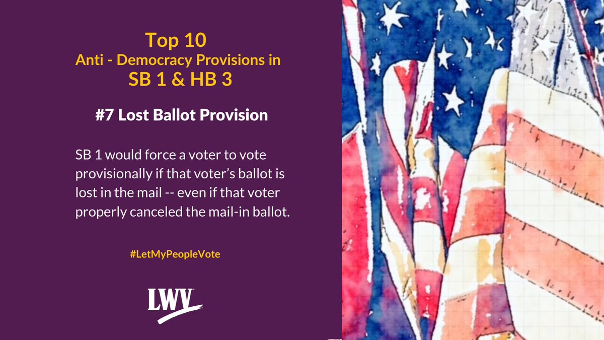 Our democracy and Texans' freedom to vote are restricted by provisions in Sb 1 and HB 3. #LetMyPeopleVote #lwv #democracy #txlege  @TexasNAACP @TXImpact @TXLULAC   https://t.co/XLF5sskoSh https://t.co/IGsQUufEj0