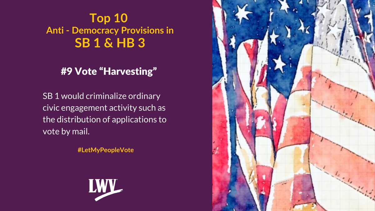 Our democracy and Texans' freedom to vote are restricted by provisions in Sb 1 and HB 3. #LetMyPeopleVote #lwv #democracy #txlege  @TexasNAACP @TXImpact @TXLULAC   https://t.co/XLF5sskoSh https://t.co/twGr8Pi6Ux