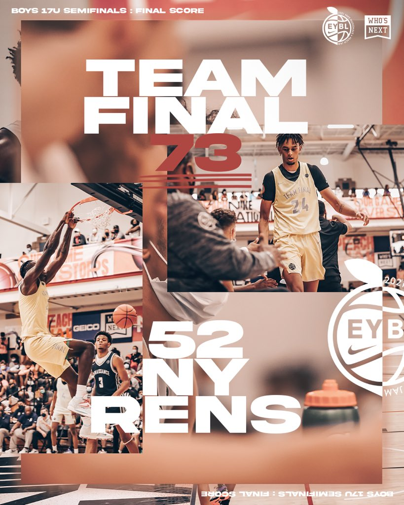 Final from 17U Semifinal #️⃣1️⃣  Team Final will face the winner of Brad Beal Elite/Meanstreets coming up next on ESPNU 🍑 #PeachJam https://t.co/rM2FZyWW5r