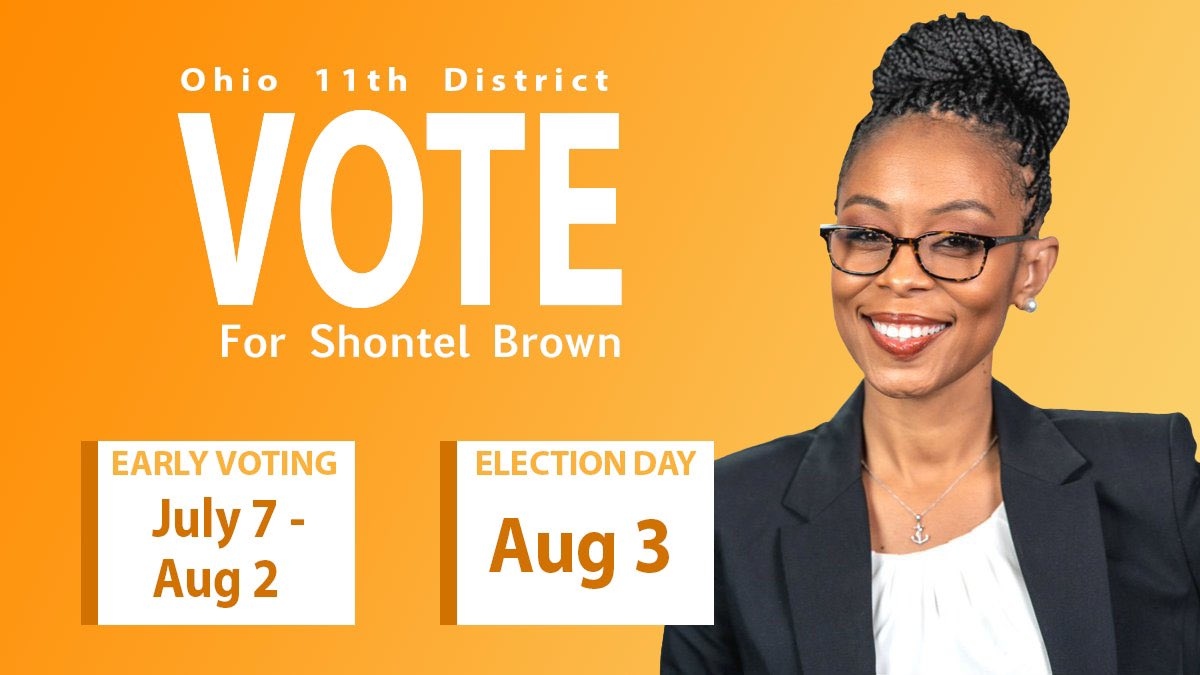 #OH11 Please VOTE for the True #Grassrootsdemocrat that will work with her fellow #democrats to pass legislation to help #OH11!! 🌊🌊Shontel Brown!! #jointhejourney Early voting is happening right now!! Encourage your family & friends to VOTE for Shontel!! https://t.co/kZ6RqG8AHu