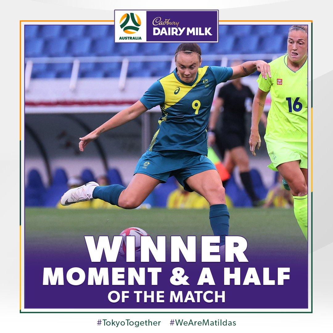 You voted @CaitlinFoord's assist in #SWEvAUS as the @CadburyAU Moment & a Half of the Match!   #CadburyDairyMilk #MomentAndAHalf https://t.co/RZtMaIBNfQ