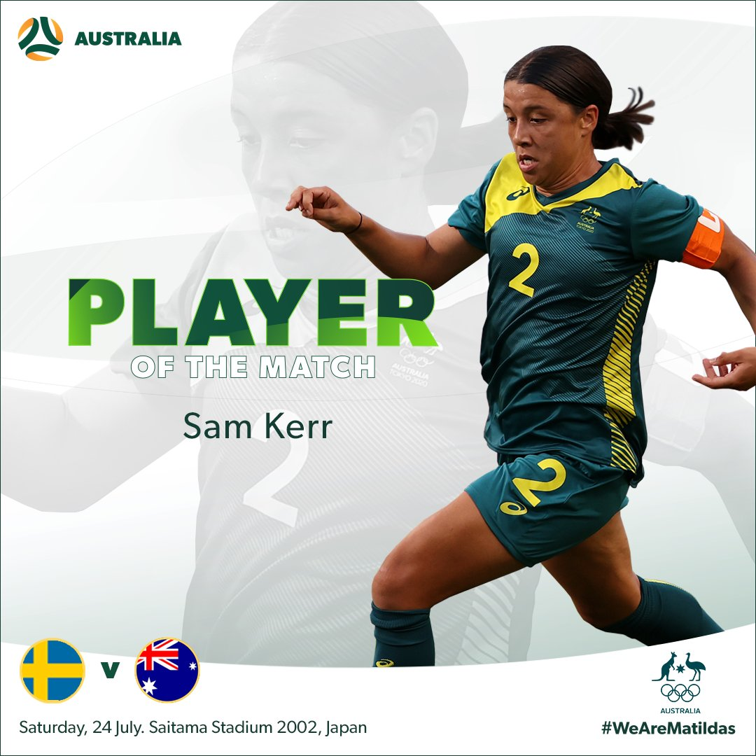That's our captain ©️  @samkerr1 is your Player of the Match from #SWEvAUS!   #Tokyo2020 #WeAreMatildas https://t.co/mXk5RDkGqF