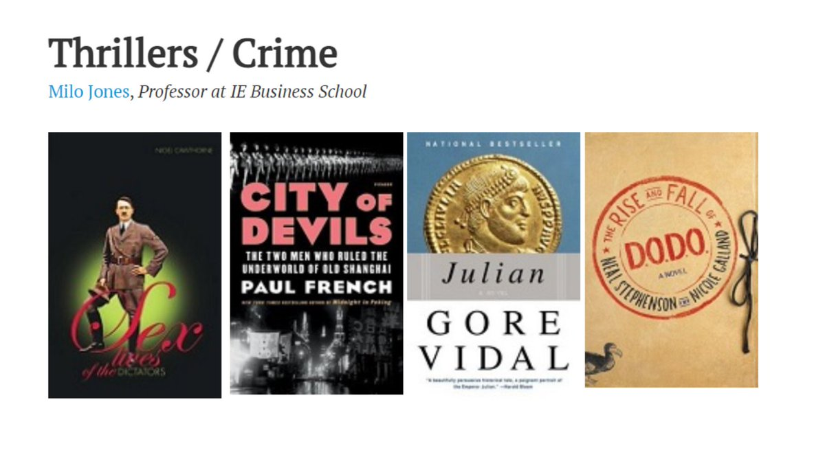 Looking for something to read this summer? @IEuniversity professor Milo Jones (@Inveniam) has a few thrilling suggestions.  https://t.co/I8cEWVjc9a #books #amreading https://t.co/As9vyWfEBC