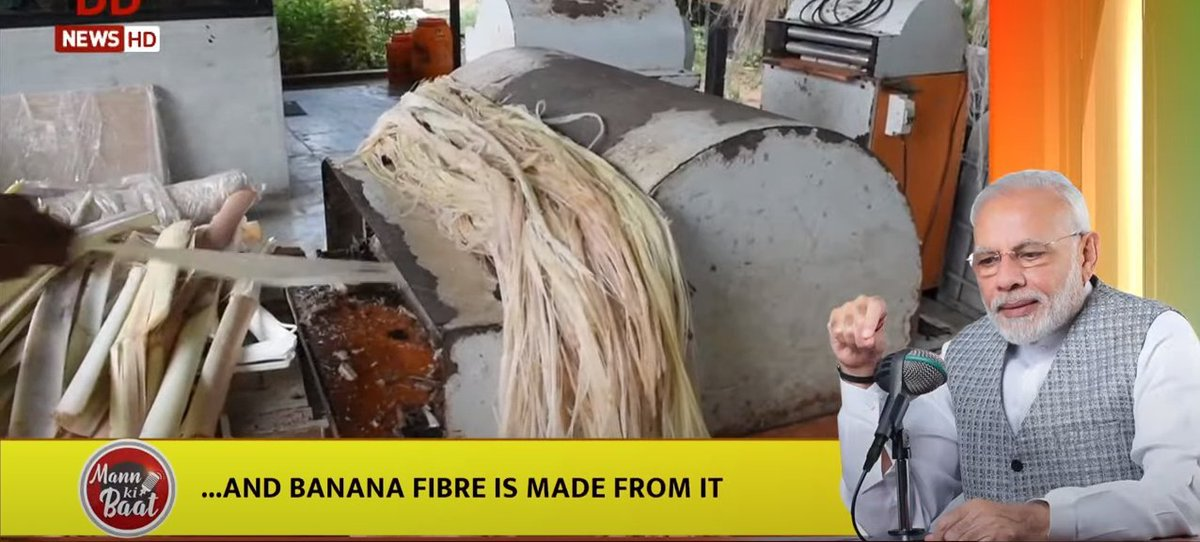 During #COVID times, there has been a unique initiative in Lakhimpur Kheri. Here work has started to impart training to women to make fibre from the discarded banana stems, an attempt to achieve best from waste: PM Narendra Modi at '#MannKiBaat' (1/2) https://t.co/AHF3kTfnNc