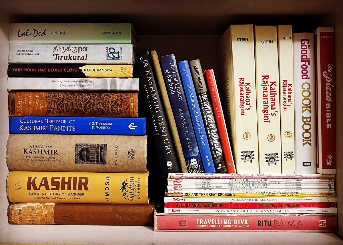 Of the hundreds of books at home, this is my favourite stash.  One day, back in the valley, deep in the mountains, these will have a log hut in the woods.   Bukhari by the side, phiran on the body with pooche & laad.    A samavar full of kehwa for company.   #books #kashmir #home https://t.co/rxvlEkzOwU