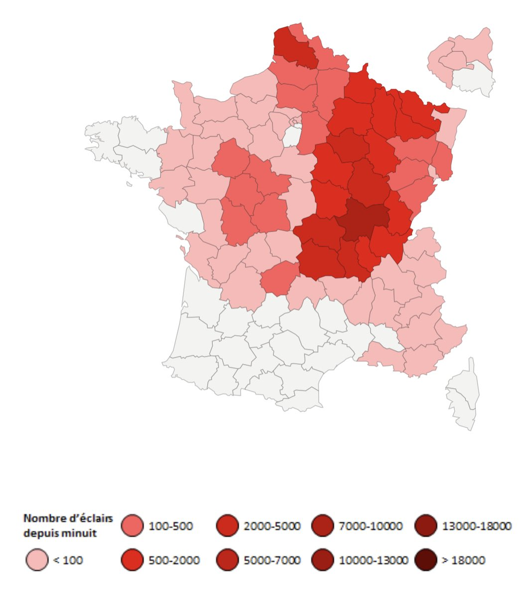 Cette journée du 24 juillet a été électriquement intense ! Plus de 45 000 #éclairs comptabilisés, principalement dans le grand quart nord-est de la #France. La Saône-et-Loire, la Côte-d'Or et le Puy-de-Dôme ont été les plus touchés. Stats ->
