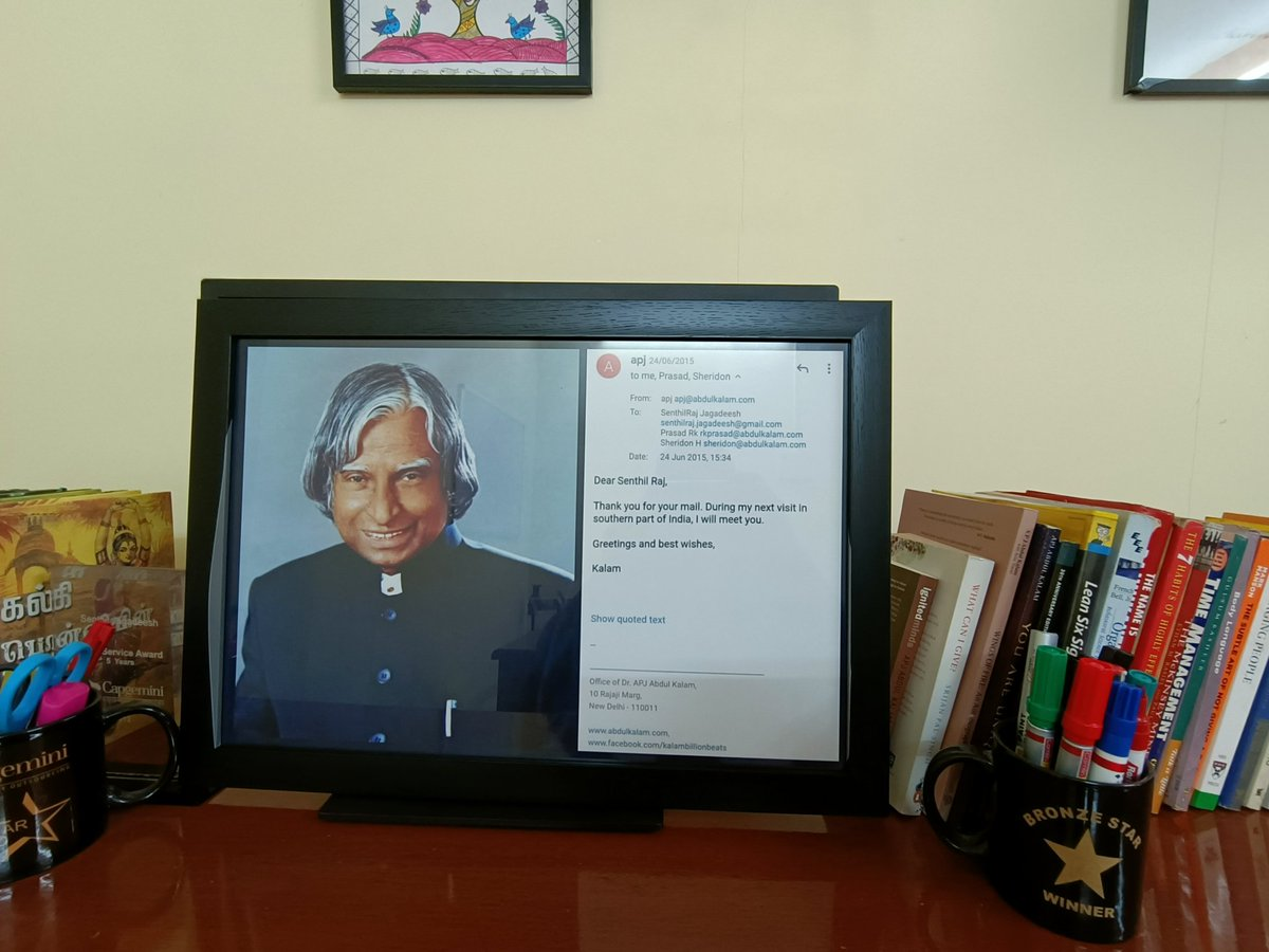Remembering Dr.Kalam and his legacy on his memorial day. Legendary level. An email from him that was precious enough to be framed at my office.  #abdulkalam #kalam @srijanpalsingh https://t.co/PAhpgF2nqa