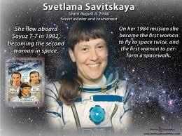 25.7.1984 Soviet aviator, flight engineer & cosmonaut Svetlana Savistskaya became the 1st woman to walk in space conducting an #EVA outside the Salyut 7 space station #OTD & is still the only Russian woman to do a spacewalk #STEM  #WomenTrailblazers #HiddenWomen #WomensHistory https://t.co/cvLPlRQWgp
