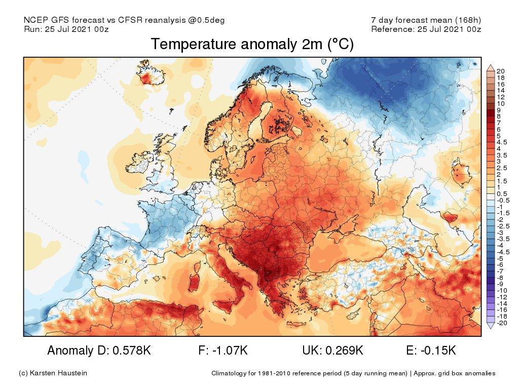 Retour de conditions un peu plus fraîches que la normale sur la majeure partie du pays pour la dernière semaine de juillet, sauf dans le sud-est où la chaleur va persister. Ce mois de juillet devrait terminer proche ou légèrement inférieur à la normale sur la France.