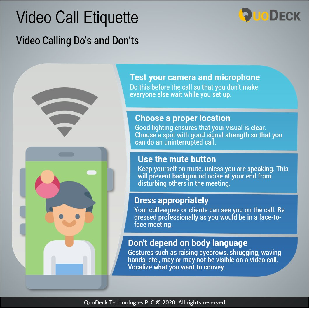 Here are some Dos and Don'ts that should be followed during a video call. #QuoDeckInfographics  #tips #sunday #infographics #sundaymorning #sundaytips https://t.co/CNNwtZGRbD