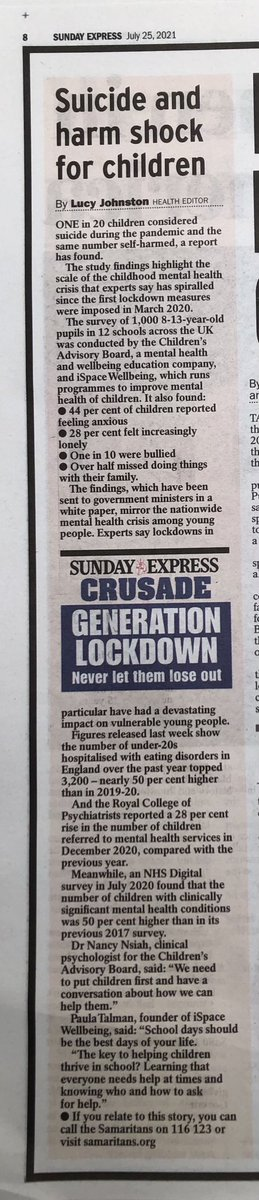 1 in 20 children considered suicide in lockdown. 50 p/c ⬆️ children hospitalised with eating disorders.  50 p/c ⬆️ kids w mental illness.  Why do we not consider the harms of experimental lockdown measures?  What is the long term impact? @UsforThemUK @T4Recovery https://t.co/wnsuDf3t3X