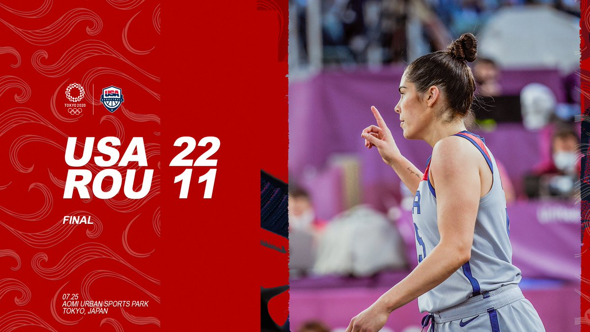 Masterful 🇺🇸  @Kelseyplum10 goes for 12 PTS to lead us to win number one of the day & number three overall 🙌  #3x3 #Tokyo2020 https://t.co/RTiWHDc4tE