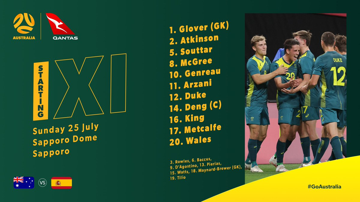 STARTING XI 🗒  Our lineup for tonight's #Tokyo2020 clash with Spain is locked in 🔒  📺💻📱: 7plus app & 7mate (transferring to 7 main channel)  #AUSvESP #GoAustralia https://t.co/GICTz6IH0i