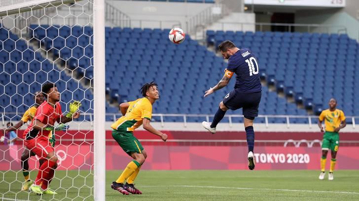 #TokyoOlympics - Africa (Men's Football)  ⏰ FT'  🇫🇷 France [4-3] South Africa 🇿🇦  ⚽️ Kobamelo Kodisang ⚽️ Evidence Makgopa ⚽️ Teboho Mokoena  ⚽️⚽️⚽️ Andre-Pierre Gignac ⚽️ Teji Savanier   #FRA #RSA #OlympicGames #TokyoOlympics2020 https://t.co/XvrYAPq93x