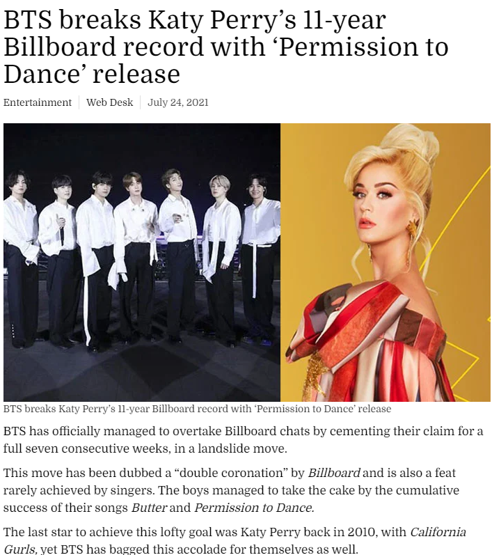 BTS breaks Katy Perry's 11 years record 💜💜 #BTS BTS PAVED THE WAY 😊💜 https://t.co/H0j2YPG1D9