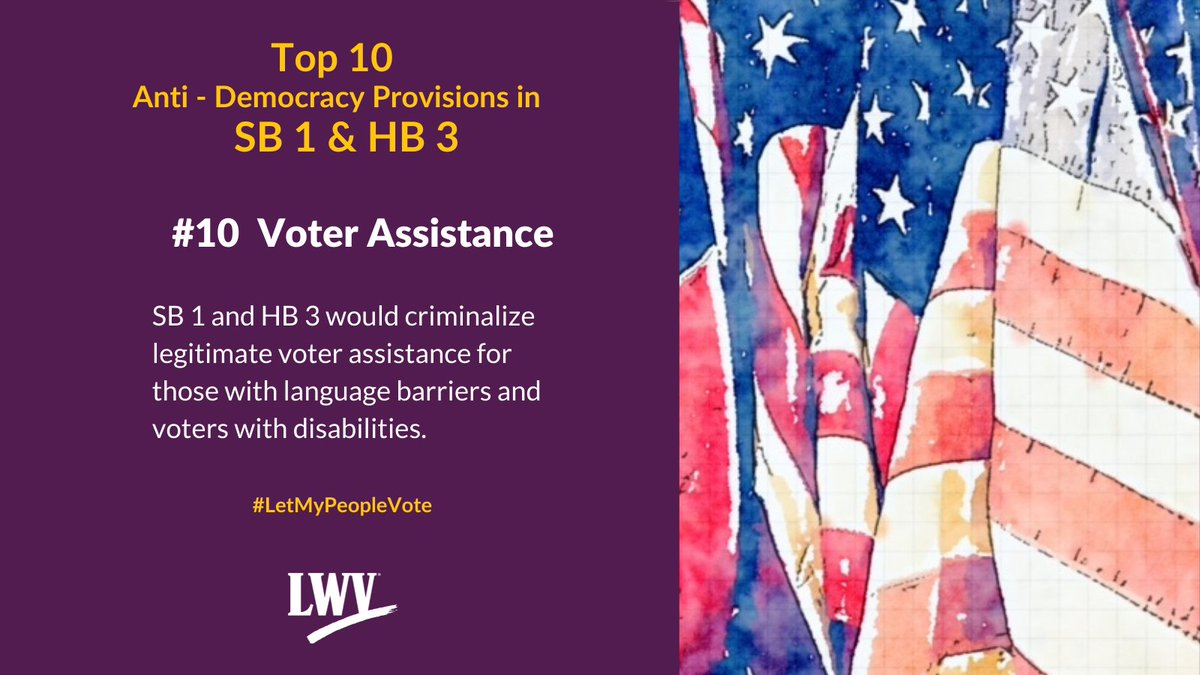 Our democracy and Texans' freedom to vote are restricted by provisions in Sb 1 and HB 3. #LetMyPeopleVote #lwv #democracy #txlege  @TexasNAACP @TXImpact @TXLULAC   https://t.co/XLF5sskoSh https://t.co/tFSrSPDp8u