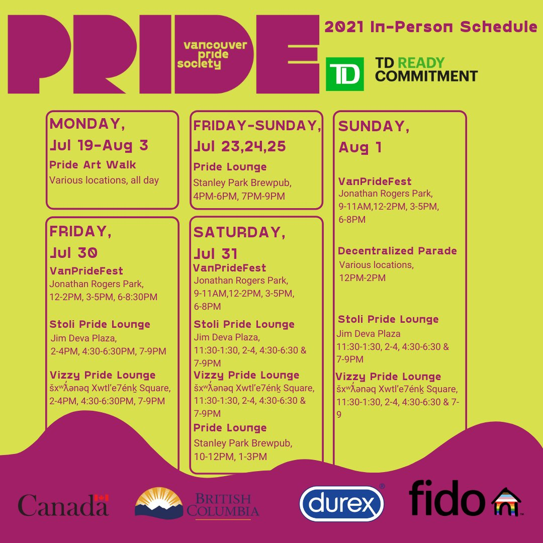 Check out all the amazing events coming up for #prideweek! With Vancouver Pride hosting events both in person and online there's no shortage of amazing workshops, events and activities to check out❤️🧡💛💚💙💜