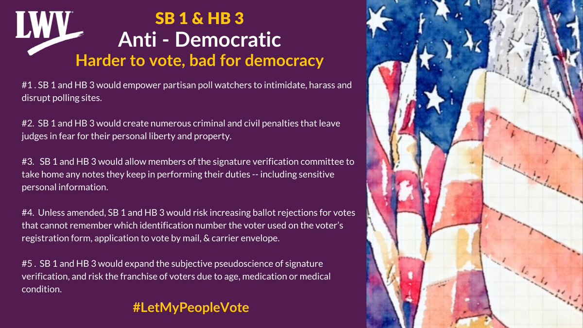 Our democracy and Texans' freedom to vote are restricted by provisions in SB 1 and HB 3. #LetMyPeopleVote #lwv #democracy #txlege  @TexasNAACP @TXImpact @TXLULAC   https://t.co/XLF5sskoSh https://t.co/5U27T8kCSA
