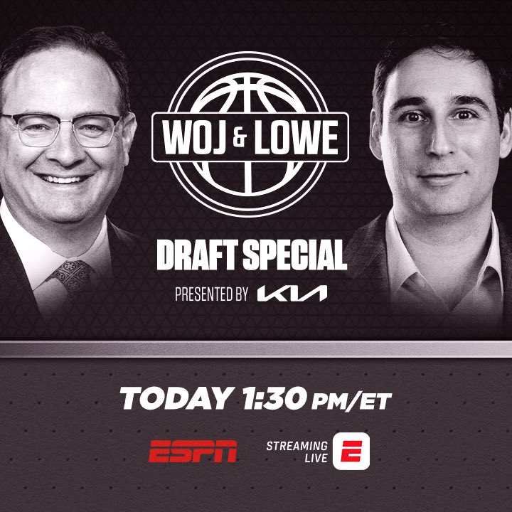 Ahead of Woj & Lowe on ESPN: KIA Mock Draft Special with @mike_schmitz, @dalencuff, @KendrickPerkins and me at 1 PM ET. https://t.co/8IKOtYK9xd