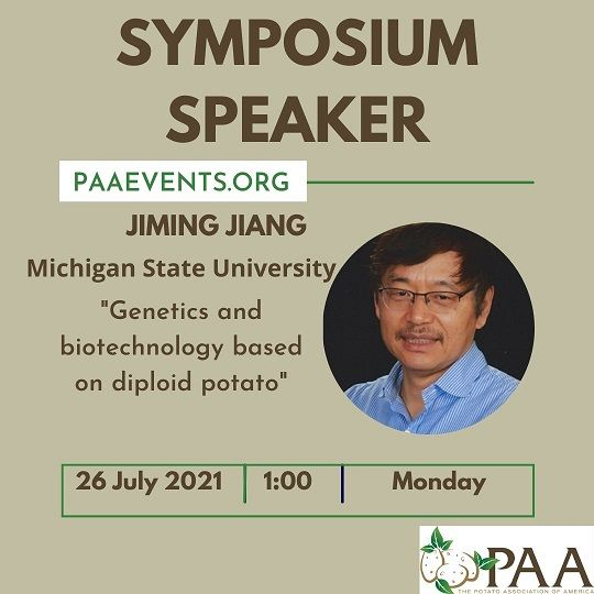 """There is still time to register to hear about """"Genetics and biotechnology based on diploid potato"""" presented by Jiming Jiang and David Douches tomorrow at 1:00 pm ET.  Sign up today at https://t.co/G4lkEFvMHL #potatoes #potato #diploidpotato #genetics #biotechnology https://t.co/bYlywnS3wp"""