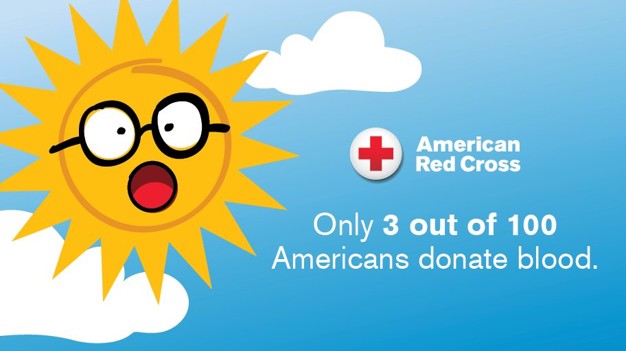 SUN-believable, but true. ☀️ There aren't enough people donating blood. But you can help by rolling up a sleeve & inviting friends to join you. Make your appointment to give blood with the Red Cross: https://t.co/mCSR7S8xMY https://t.co/ELGH2FtOBk