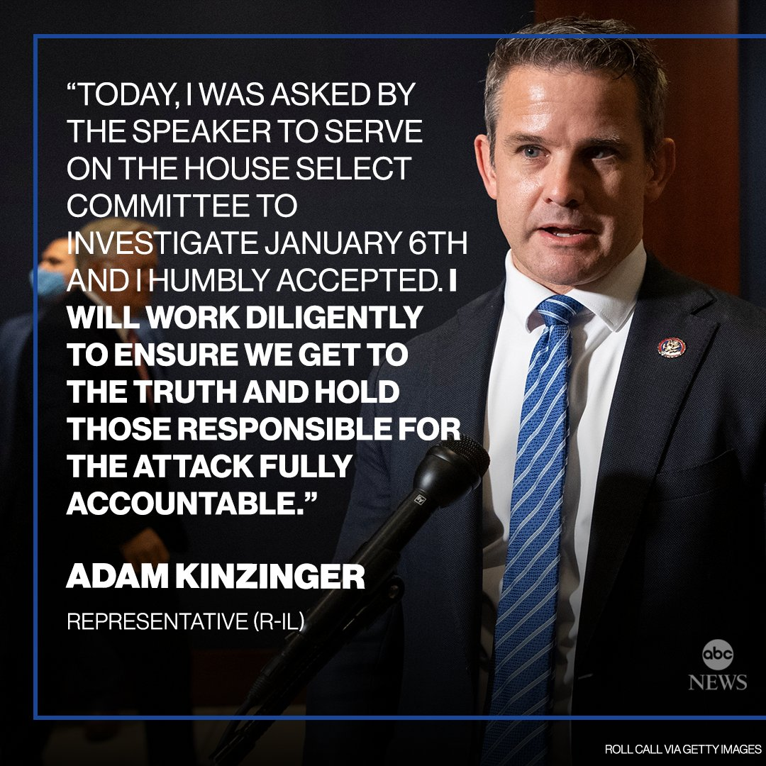 """JUST IN: GOP Rep. Adam Kinzinger accepts House Speaker Nancy Pelosi's invitation to sit on the Jan. 6 select committee: """"I will work diligently to ensure we get to the truth and hold those responsible for the attack fully accountable."""" https://t.co/3bKiOVb7VU https://t.co/Okh5KMCDUp"""