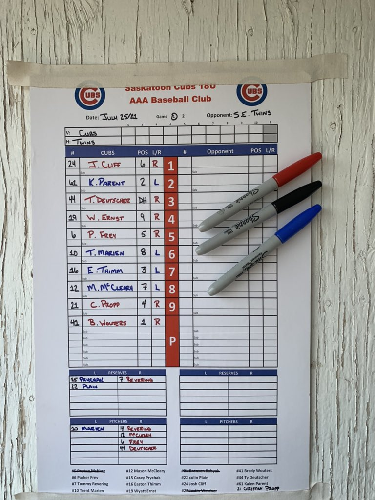 Your Cubs travel to steamy Estevan for a double dip against the South East Twins. Wouters with the ball for a 1:00pm first pitch. Today's game sponsored by Anti Monkey Butt. #beardown https://t.co/t0mNCGbrxz