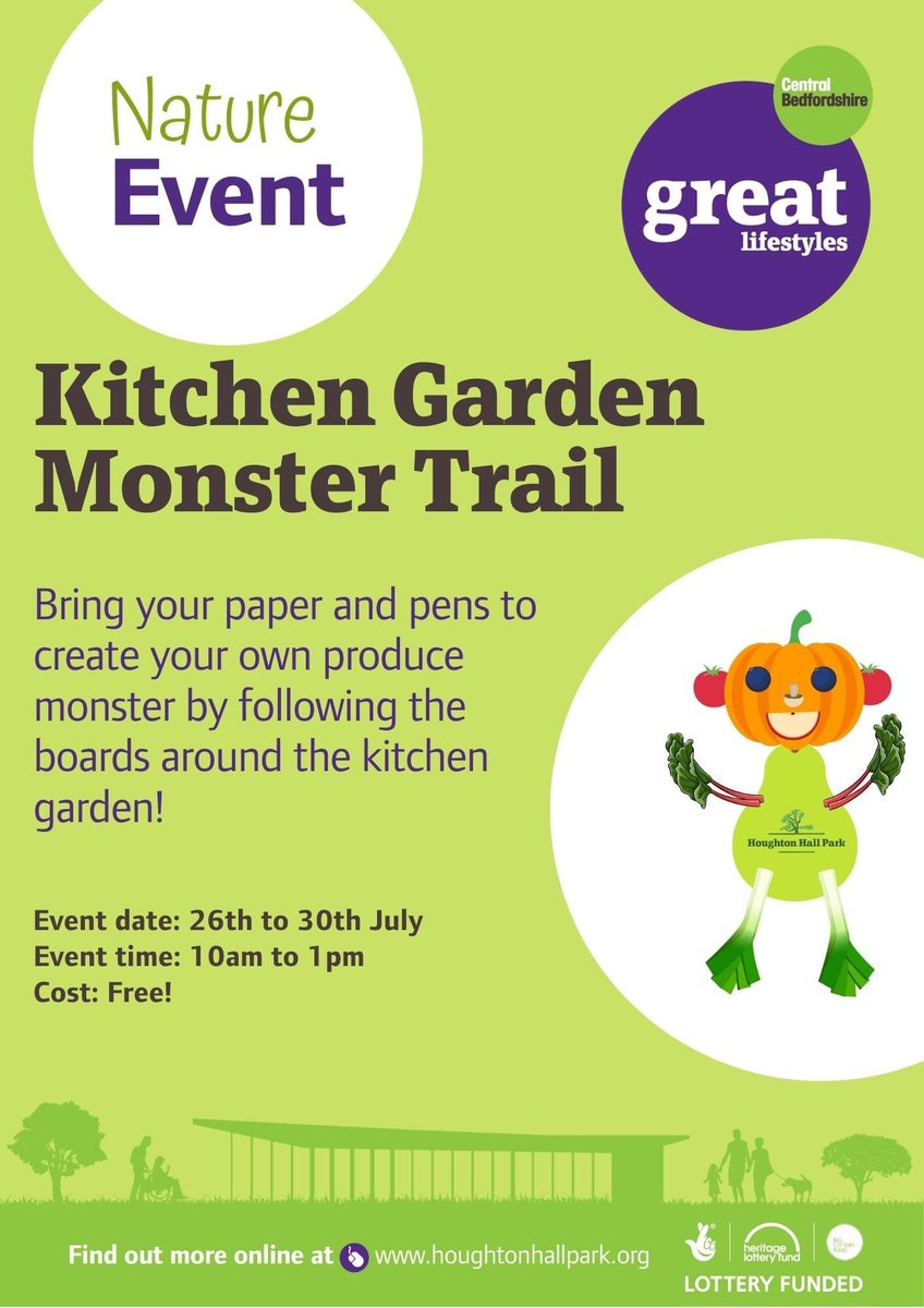 RT @HowardH_8: FREE monster activity trail at #houghtonhallpark 10am-1pm 26-30 July. @RoyalHoughton @RegisWhats  @Houghton_Regis #getactivewith #activebedfordshire