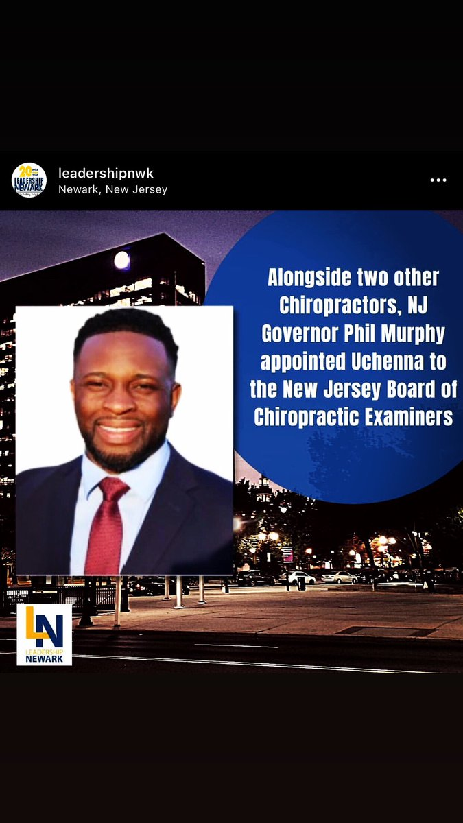 Thank you so much Leadership Newark for the recognition and shout out. I look forward to serving the profession I love for the State of New Jersey. #leadershipnwk #news12nj #chiropractor  #newark #nj https://t.co/tawrR8iYlp